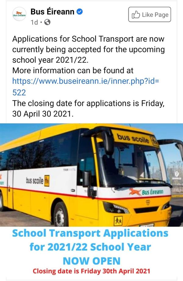 School Transport Applications for 2021/22 School Year NOW OPEN